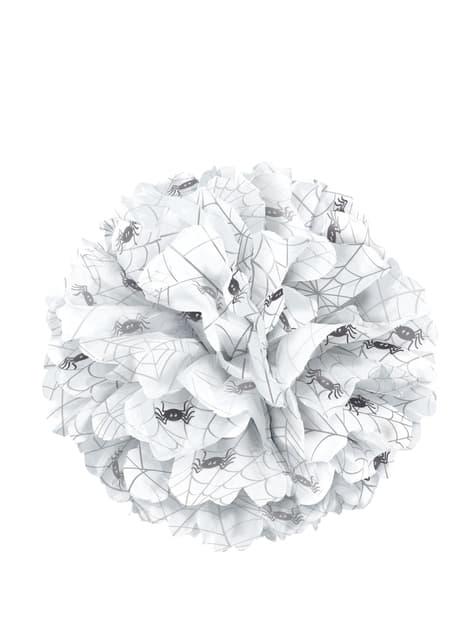 Pompón decorativo blanco con arañas - Basic Halloween