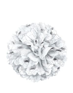 Decoratieve witte poef bal met spinnen - Basic Halloween