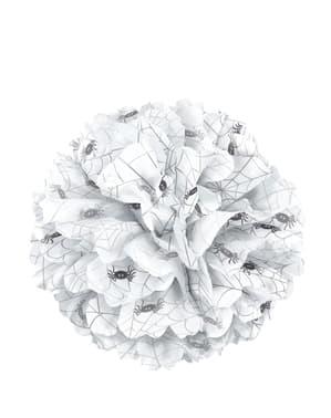Dekorativ hvit pom pom med edderkopper - Basic Halloween