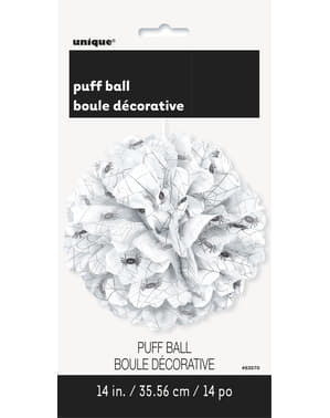 Decorative white puff ball with spiders - Basic Halloween