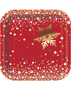 Sada 8 dezertních talířů Merry Christmas - Gold Sparkle Christmas