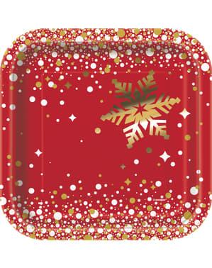 8 piatti per dolce Merry Christma (18 cm) - Gold sparkle Christmas