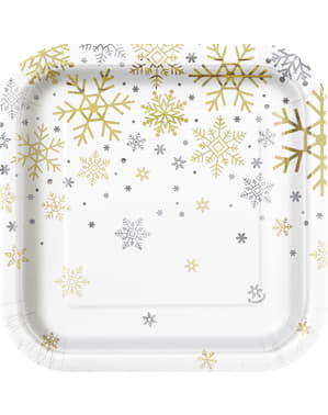 Комплект от 8 десертни чинии - сребърни и златни почивни снежинки