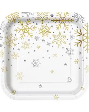 8 tallrikar dessert (18 cm) - Silver & Gold Holiday Snowflakes