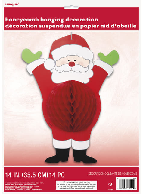 Muñeco decorativo de Papá Noel de panel de abeja - Ho Ho Ho Christmas - para tus fiestas