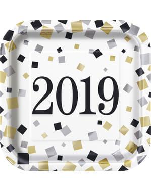 Zestaw 8 Sylwestrowych kwadratowych talerzy deserowych - Happy New Year