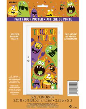 Plakat dekoracyjny na drzwi z dziecinnymi potworami - Silly Halloween Monsters