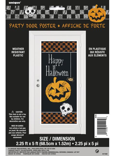 Decoración para puerta con calabaza y calavera Happy Halloween - Basic Halloween - para tus fiestas