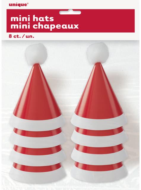 Conjunto de 8 chapelinhos de Pai Natal - Basic Christmas