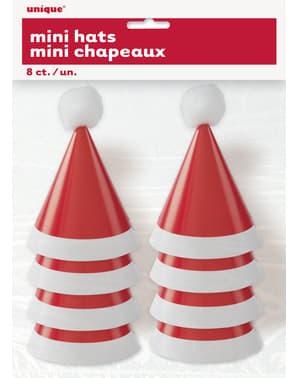 Zestaw 8 czapeczek świętego Mikołaja - Basic Christmas