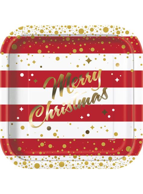 8 platos Merry Christmas (23 cm) - Gold Sparkle Christmas
