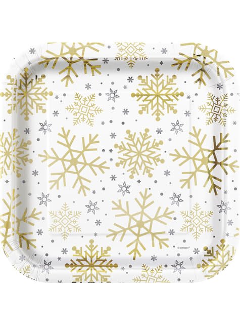 8 platos (23 cm) - Silver & Gold Holiday Snowflakes