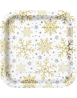 8 borde (23 cm) - Silver & Gold Holiday Snowflakes