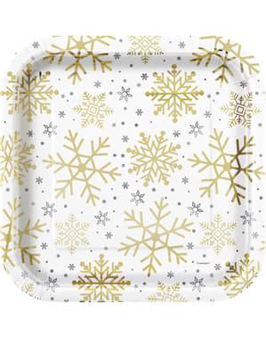 Sæt af 8 tallerkner - Silver & Gold Holiday Snowflakes
