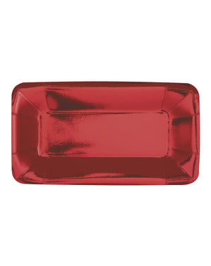 8 rectangular red trays - Solid Color Tableware