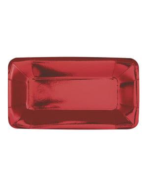 Zestaw 8 prostokątnych czerwonych tacek - Solid Colour Tableware