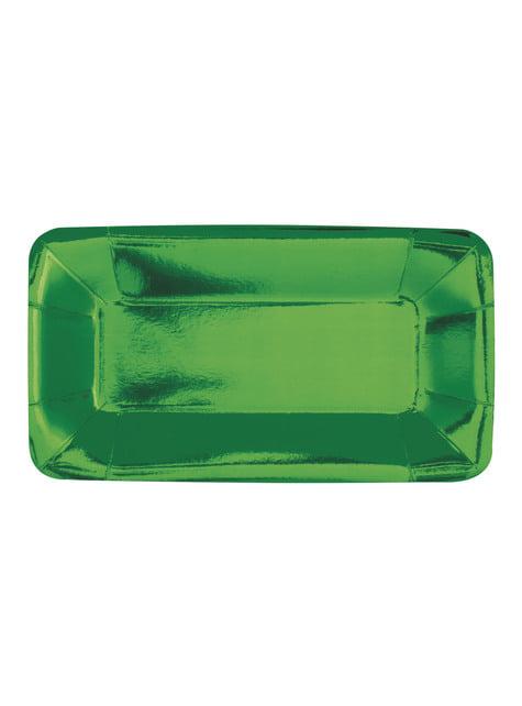 Conjunto de 8 bandejas retangulares verdes - Solid Colour Tableware