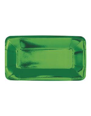 Zestaw 8 prostokątnych zielonych tacek - Solid Colour Tableware