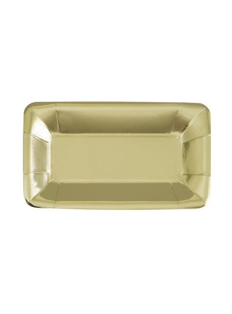 8 kultaista tarjotinta - Solid Colous Tableware