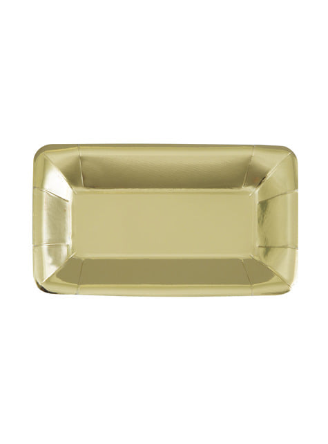 Goldenes Teller Set rechteckig 8-teilig - Solid Colour Tableware