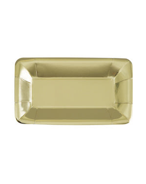 8 plateaux rectangulaires dorés - Solid Colour Tableware
