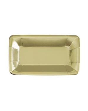 Zestaw 8 prostokątnych złotych tacek - Solid Colour Tableware