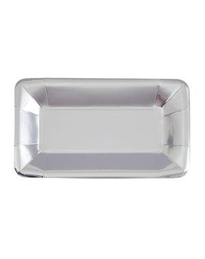 8 rechthoekige zilveren dienbladen - Solid Colour Tableware