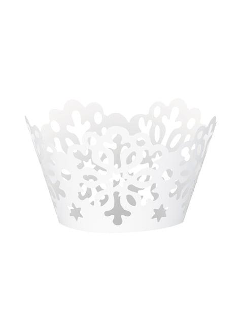 12 cápsulas para cupcakes - White Snowflakes