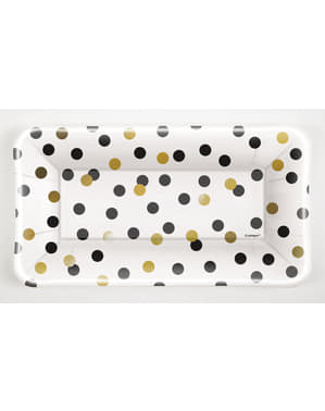 8 rectangular New Year's tray (22,86 x 12,7 cm) - Glittering New Year Chic Party