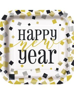 Sett med 8 firkantet Nyttårsaften tallerken - Glitrende New Year