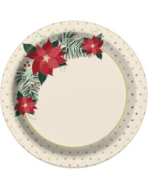 Sett med 8 påske blomster dessert tallerkener - Rød & Gold Poinsettia