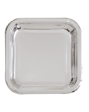 8 małych kwadratowych srebrnych talerzy (18 cm) - Basic Colors
