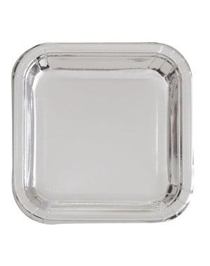 8 små firkantede tallerkener sølv (18 cm) - Basic Colors Line