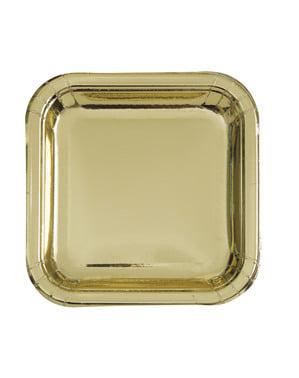 8 pratos de sobremesa dourado (18 cm) - Solid Colour Tableware