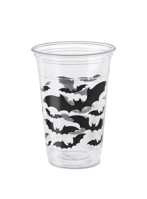 Set de 8 vasos transparentes con murciélagos - Black Bats Halloween