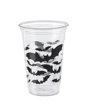 Sada 8 kelímků průhledných s netopýry - Black Bats Halloween