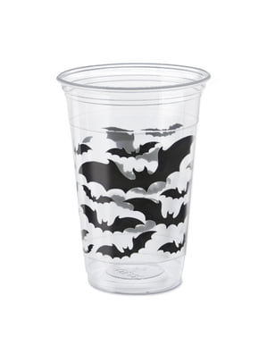 Set of 8 clear cups with bats - Black Bats Halloween