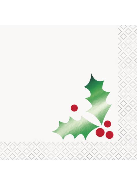 16 servilletas de cóctel (13x13 cm) con hoja de acebo - Basic Christmas