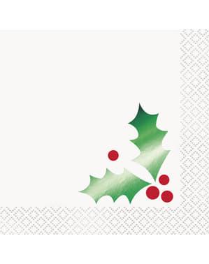 Sett med 16 servietter med misteltein - Basic Jul
