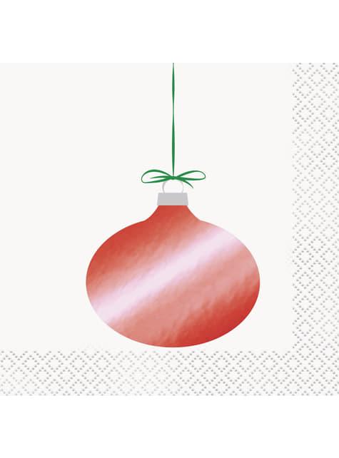 16 servilletas de cóctel con bola de árbol de Navidad (13x13 cm) - Basic Christmas