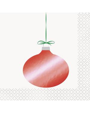 16 Serviettes en papier avec boules sapin de noël - Basic Christmas