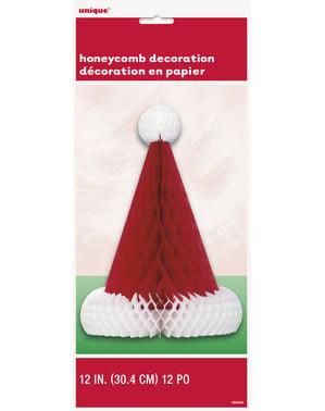 Centru de masă tip fagure căciulă Moș Crăciun - Basic Christmas
