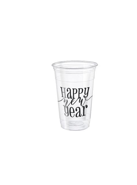 Set de 8 vasos grandes de Nochevieja - Happy New Year