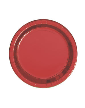 8 okrągłe metaliczne czerwone talerze – Red Foil Programme