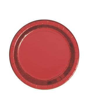 Sett med 8 Rund Metallisk Rød Tallerkener - Red Foil Programme