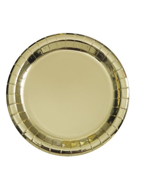 סט 8 צלחות זהב עגולות - כלי שולחן צבע מוצק
