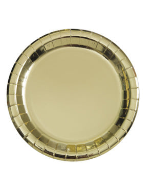 Sett med 8 rund gull tallerken - Solid Farge Servise