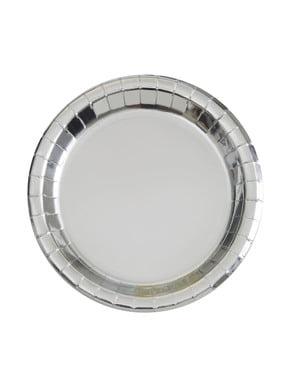 Zestaw 8 okrągłych srebrnych talerzy - Solid Colour Tableware