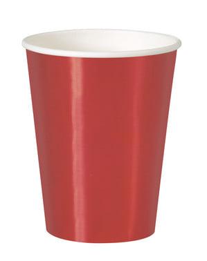 Sett med 8 rød kopper - Solid Farge Servise