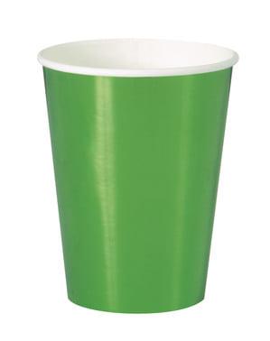 Zestaw 8 zielonych kubków - Solid Colour Tableware